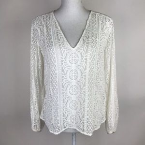 Theory Top Ivory Lace Bernetta Floral Blouse Sheer